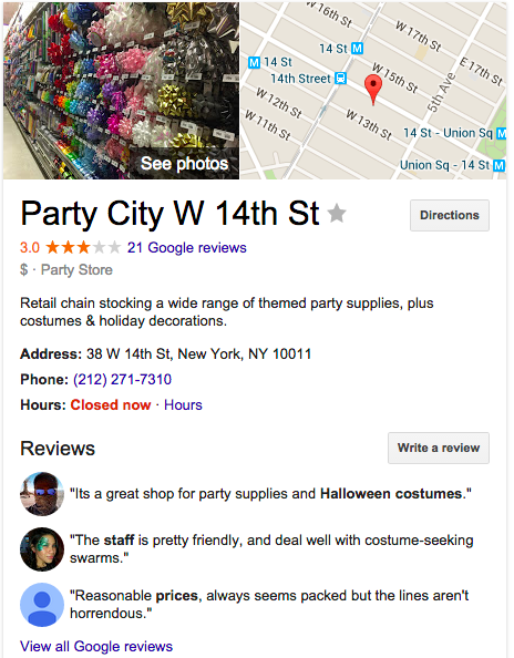 i looked at each competitors homepage layout - Halloween Store 14th Street Nyc