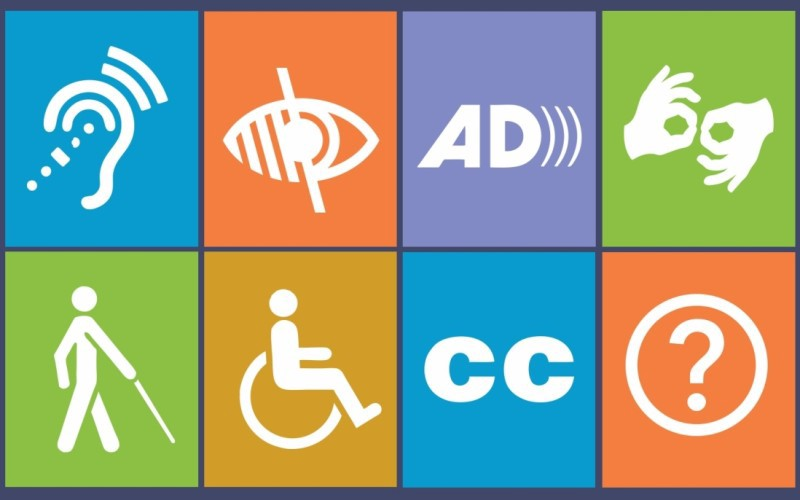 Eight different accessibility signs