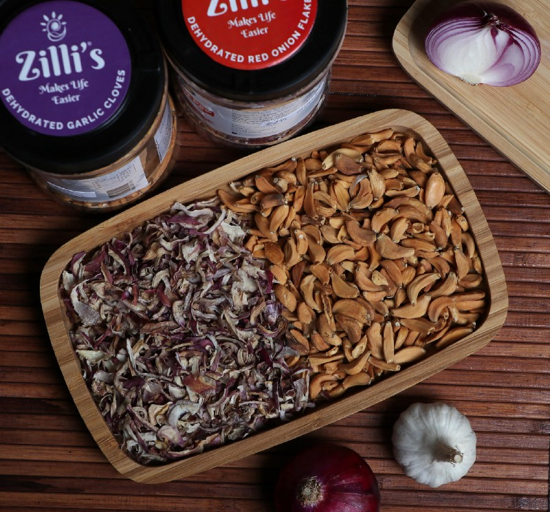 Dehydrated Onion and Garlic Cloves (Source: Zilli's Social Mediapage)
