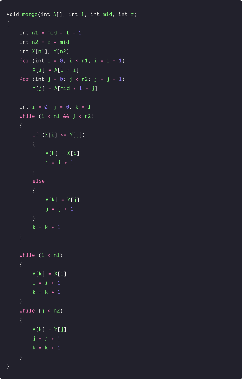 two pointer implementation of the merging algorithm