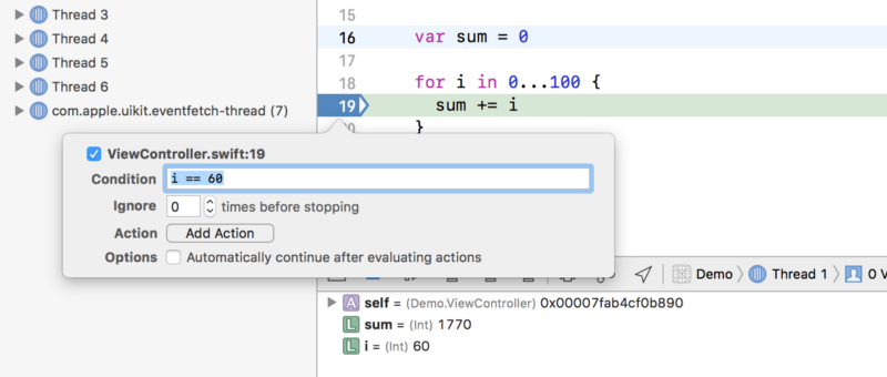 Edit breakpoint trong Xcode