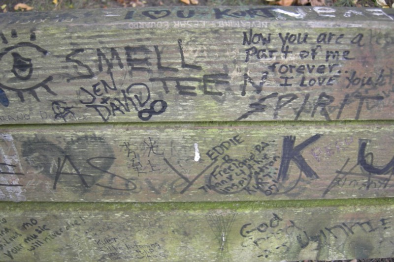 After Cobain's death, a park bench near his home in Seattle became an unofficial memorial for grieving fans (credit: Joe Mabel)