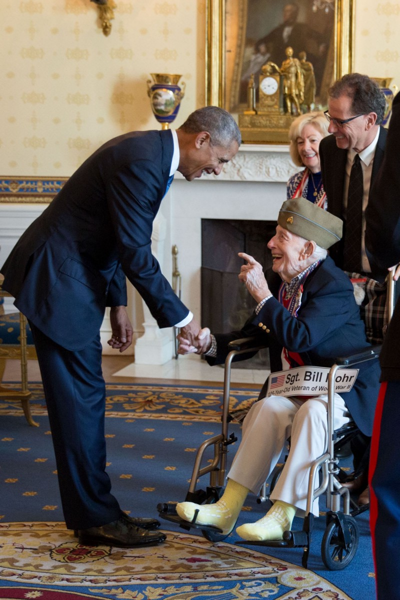 "Nov. 11, 2016 ""The excitement in his face says it all. Bill Mohr, 108 years old (not a typo), was the oldest living World War II veteran when he met President Obama after a Veterans Day breakfast at the White House. Bill passed away a couple of weeks ago and his family released a statement including this sentence: 'Meeting a sitting President was the fulfillment of a lifelong dream for our father, who was a true patriot.'"" (Official White House Photo by Pete Souza)"