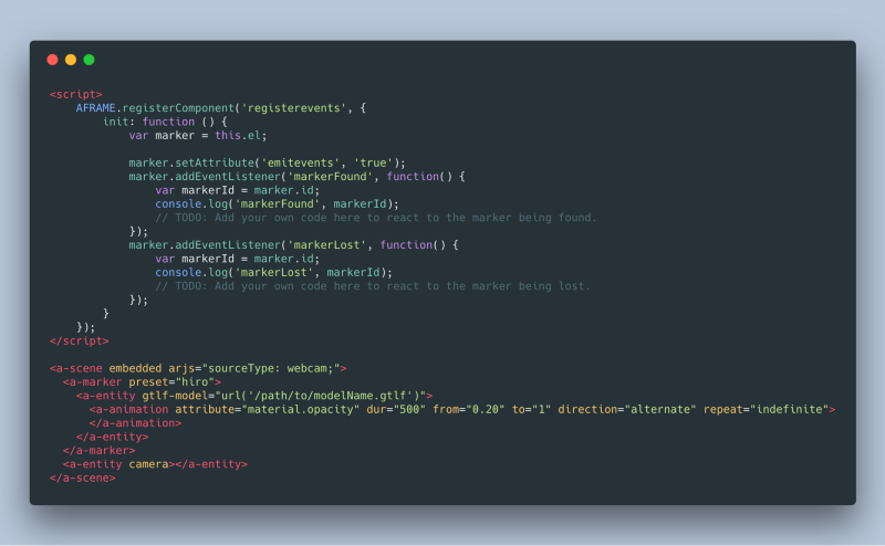 Screenshot of implemented event listeners for markers in AR.js