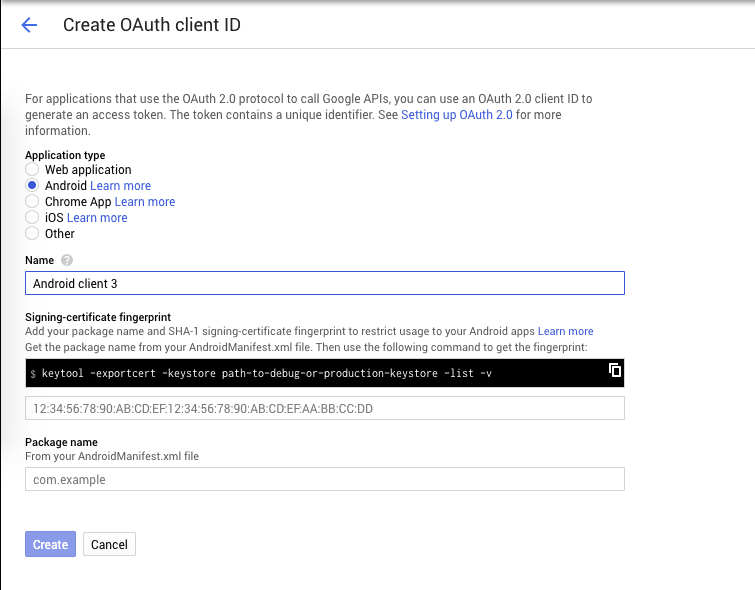 Create OAuth credential for Android