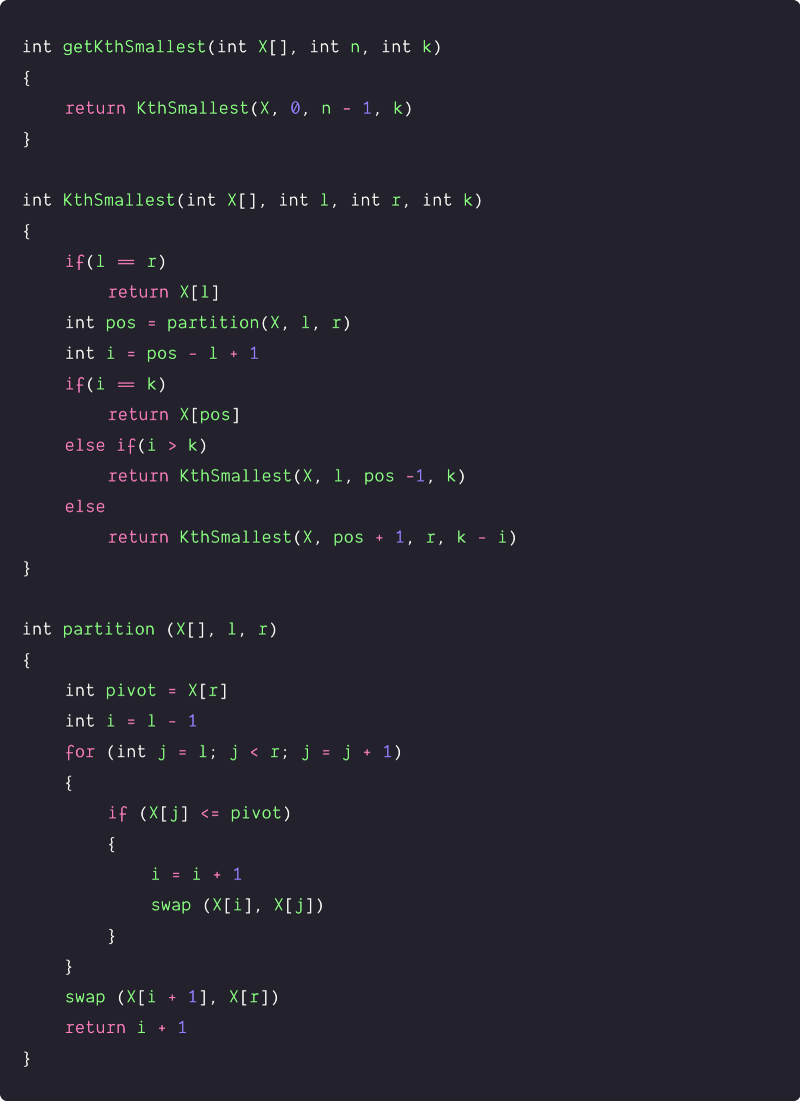 quick select approach pseudocode
