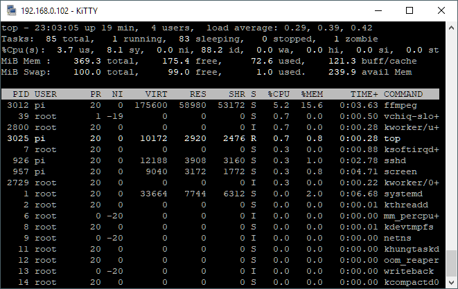 Screenshot of our successful FFMPEG test.