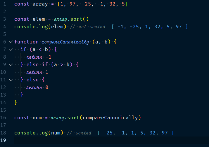 Sort numbers with compareFunction()