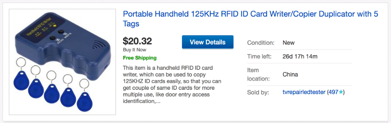 Portable device that copies and RFID ID card