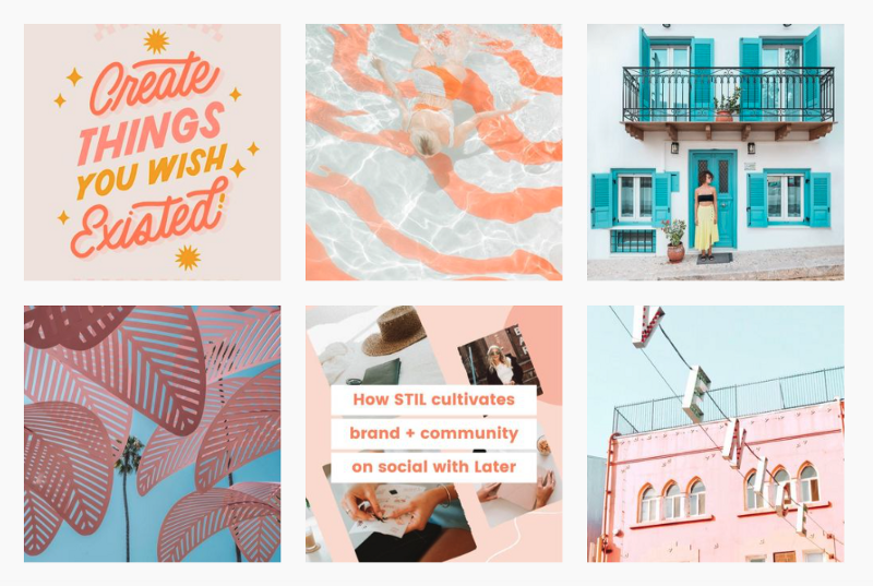 A screenshot of Later Media's instagram feed showing different types of social media marketing pictures, alternating between stock photos, text, and other digital graphics that carry the same general look and feel.