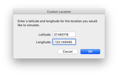 simulator custom geolocation