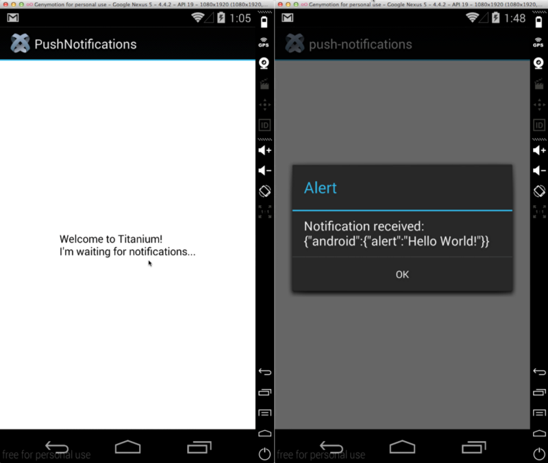 Sending push notifications through appcelerator cloud api for Titanium app templates