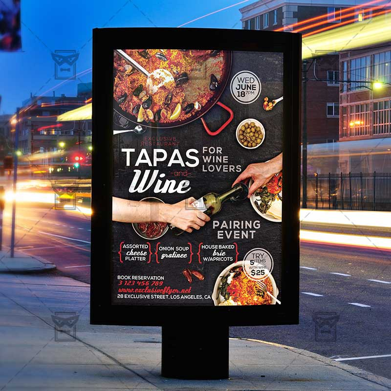 Tapas And Wine Flyer Food A5 Template Exclusive Flyer Medium
