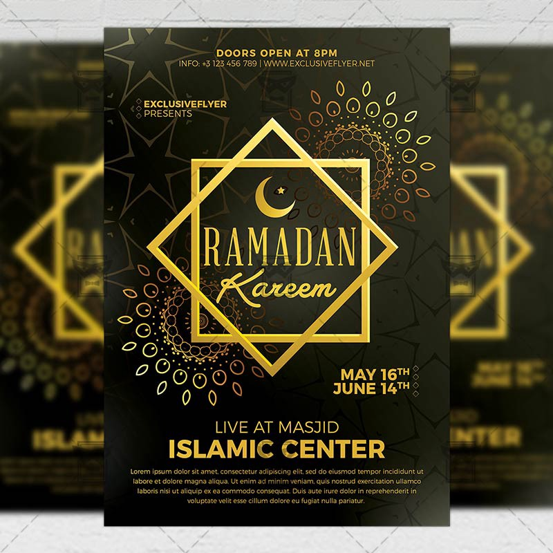 Ramadan Kareem Iftaar Party Seasonal A5 Flyer Template