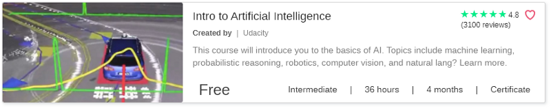 Intro to Artificial Intelligence by Udacity