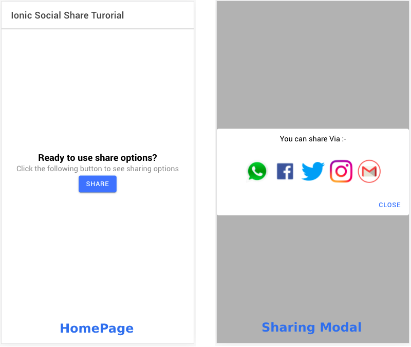 HomePage and Sharing Modal Component for Ionic 5 app