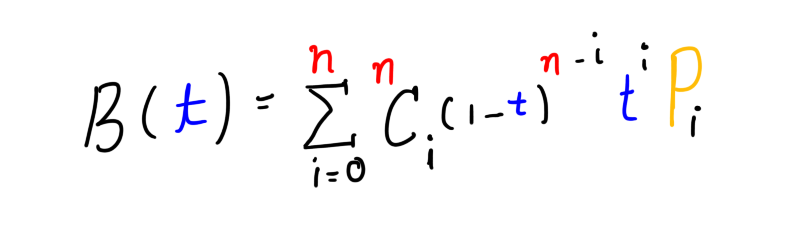 General formula for Bezier curve of degreen