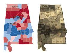 The voting map of Alabama compared to a map Lincoln used to determine each county's reliance on slavery.