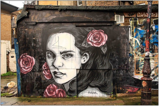 Description: This photograph shows a mural of a woman with dark hair painted on a wall. She looks confidently and almost directly in the direction of the camera. She has several large dark pink roses in her hair and vicinity. Credit: Maureen Barlin via Flickr, CC BY-NC-ND 2.0.