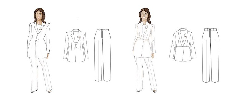 Concept sketches for Maakola's bespoke outfit for Tulsi Gabbard