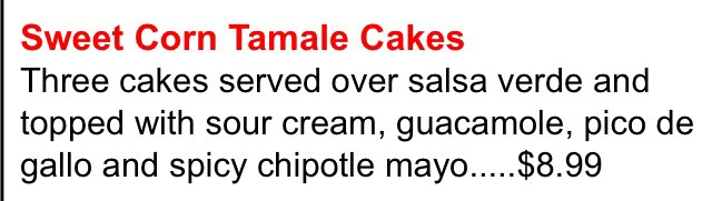 Screencapped description of the Sweet Corn Tamale Cakes taken from Tijuana Taxi Co website