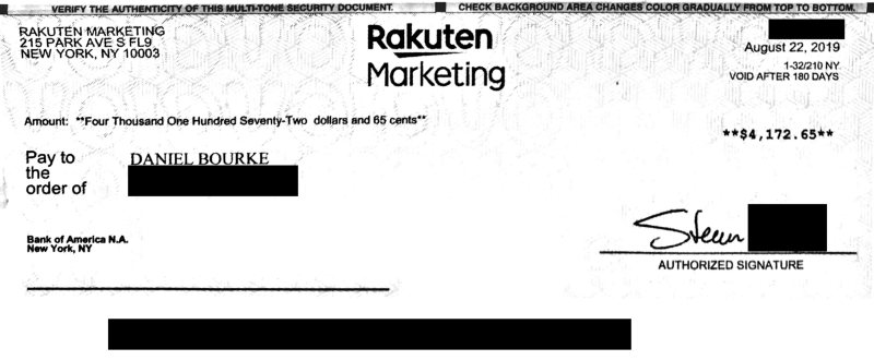 Rakuten marketing cheque to Daniel Bourke for $4172.65