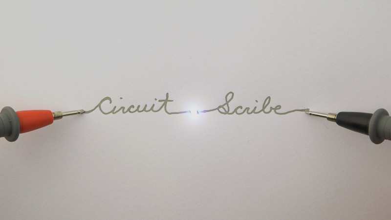 Circuit Scribe is a roller ballpoint pen with conductive silver ink. It creates an easy circuit like graffiti.
