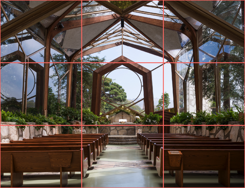 An interior photograph of a contemporary church demonstrating how the rule of thirds graphic design can also be used to highlight and accentuate the forms in contemporary architecture.