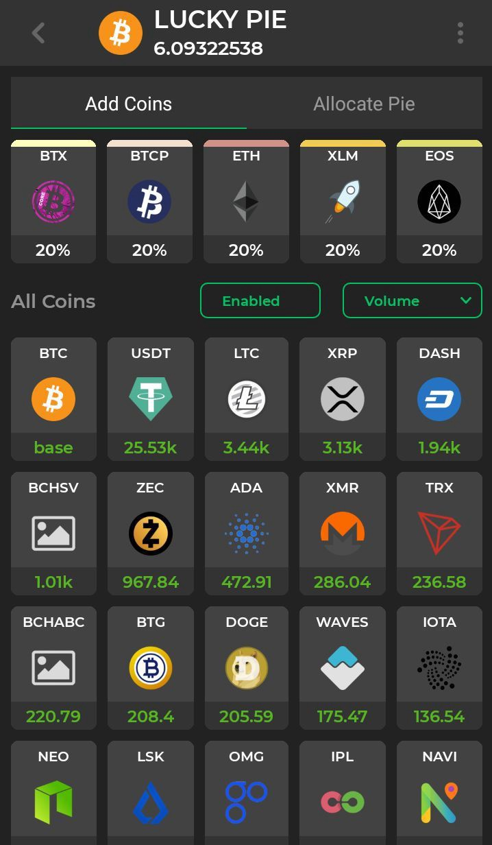 Screen of Add Coin Section in Plutus Wallet app
