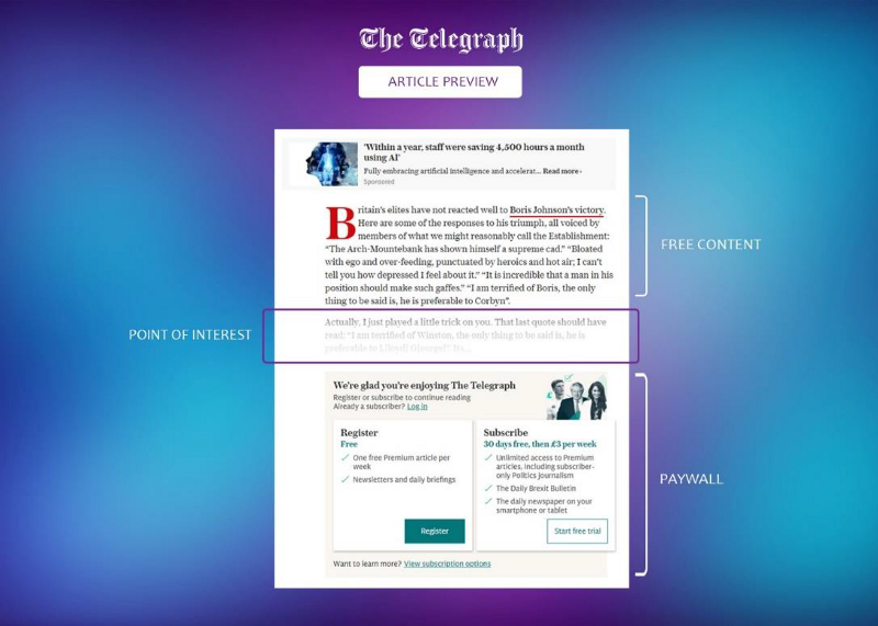 A screenshot of The Telegraph's article once you scroll down and hit the paywall