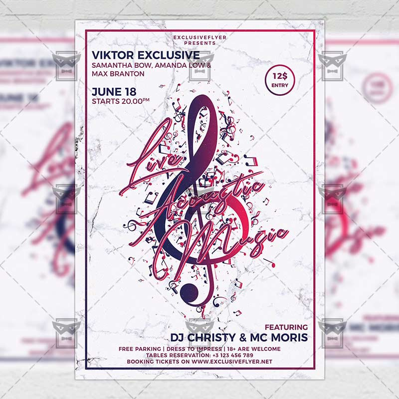 Live Acoustic Music Club A5 Flyer Template Exclusive Flyer Medium