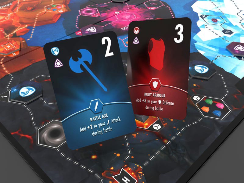 Planet Fulcrum battle cards—attack and defend