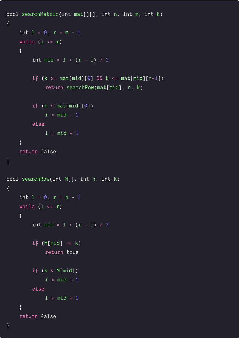 search in a row-wise sorted 2dmatrix using binary search pseudocode