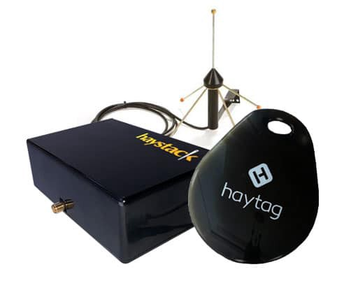 Haystack asset tracking demo kit showing an endpoint, gateway, and monopole antenna