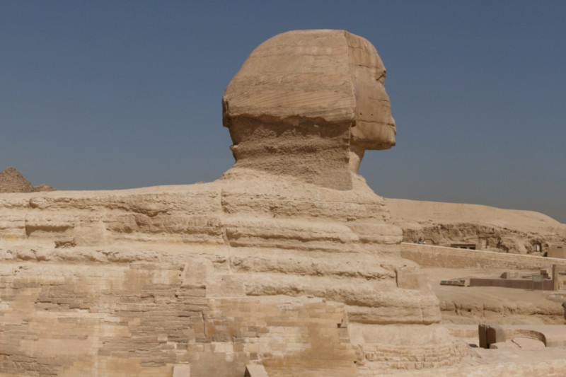 The distinctive undulating erosion patterns and old kingdom repairs visible on the side of the Sphinx (credit: kallerna)