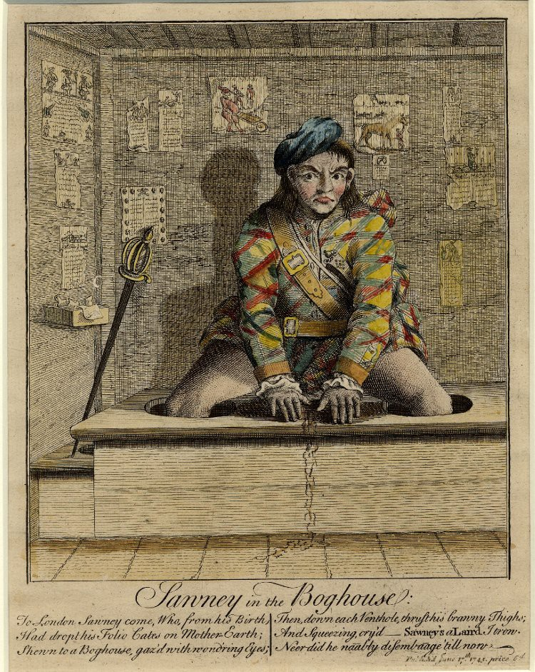 """Sawney in the Bog-house"" — anonymous etching from 1745"