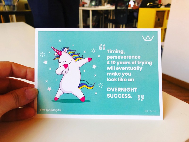 the motivational card for startup founders