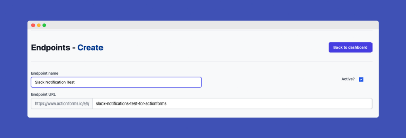 Create ActionForms.io endpoint with Basic information