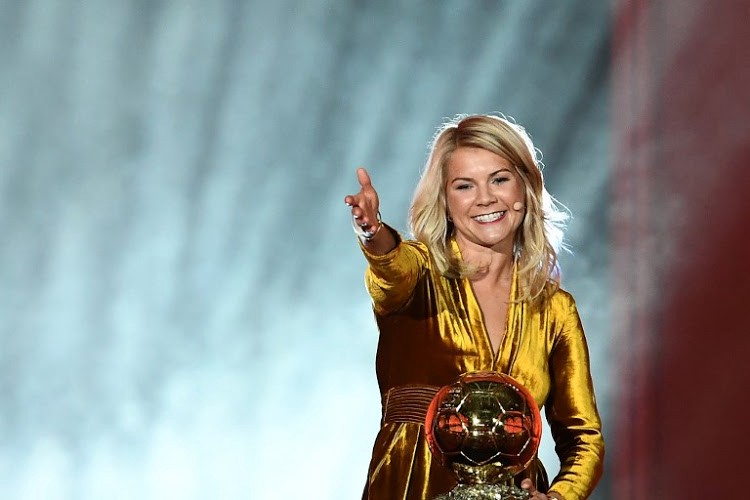 Ada Hegerberg celebrates her Ballon d'Or win