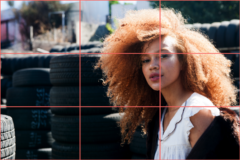 An example of how the design rule of thirds applies to portrait photography. The photography rule of thirds states that a subject's eyes should be aligned along one of the key guidelines, or directly on top of an intersection point.