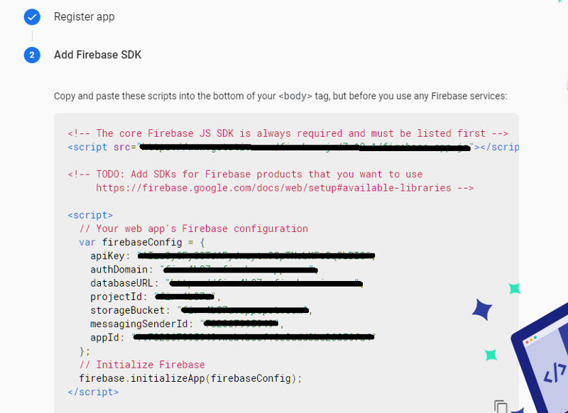 Obtaining config from Firebase console, required for initializing the app with Firebase