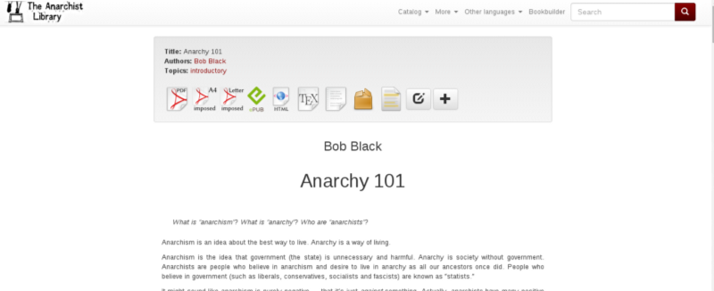 Image of the website of the anarchist website