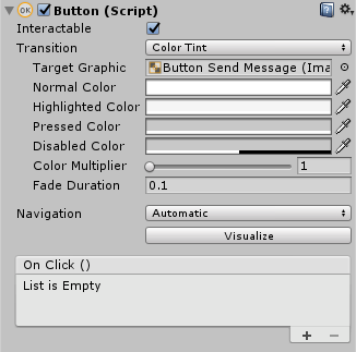 A button's view in the Unity inspector.