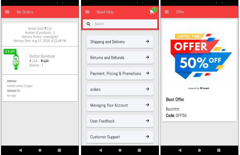 My Orders, Help and Offers pages of Grocery buyer app—Ionic Grocery Delivery Platform