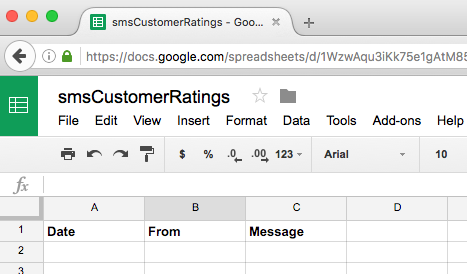 Google Sheets Incoming SMS