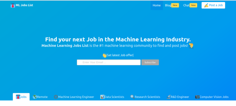 ML jobs: Machine Learning Jobs, Data scientists, Computer Vision and