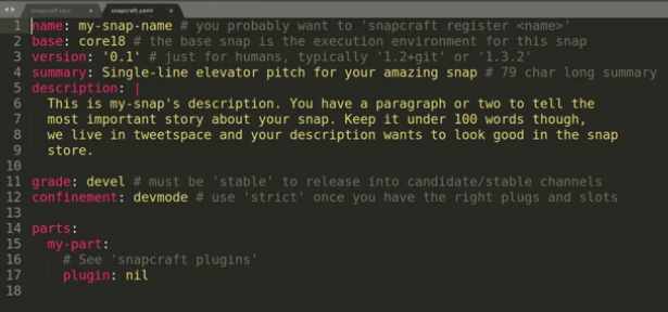 Standard snapcraft.yaml file after initialization. (Credit: snapcraft on youtube.com)