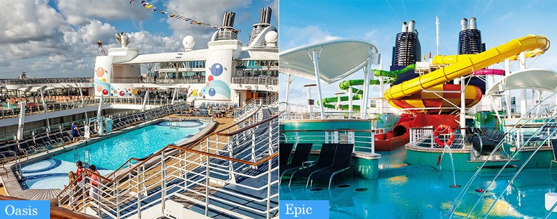 Clash of the cruise titans oasis of the seas vs for Epic pool show