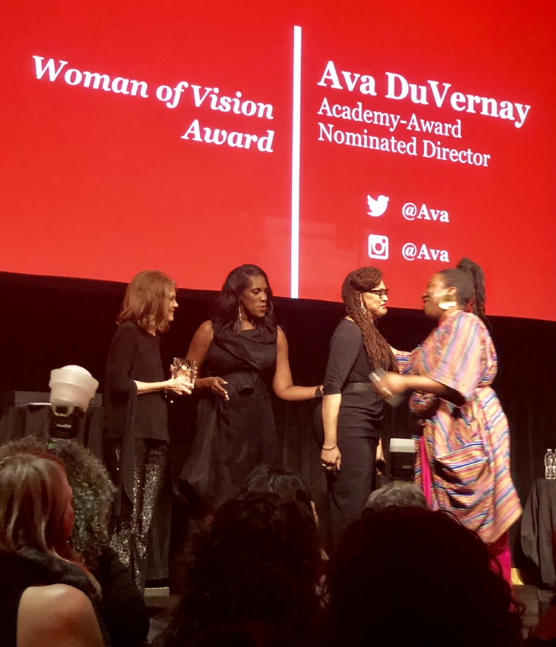 #metoo founder Tarana Burke presented Woman of Vision award to the amazing director Ava Duvernay as Ms Foundation president Teresa Younger and Gloria Steinem look on.