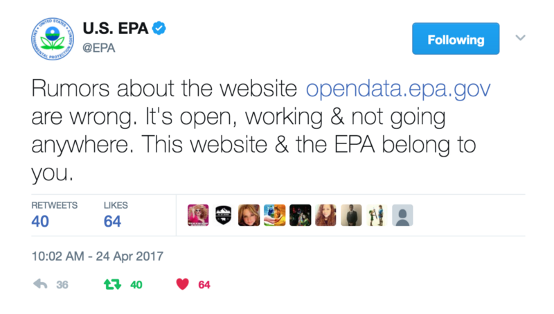 US EPA Confirms Continuity of Open Data Service beyond 28-Apr-2017